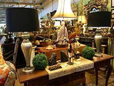 "Magnificent Maitland Smith Lamps With Metal Roman Relief Bust   Dealer #0108  New Black Shades  34"" Tall   $978 Pair   Lucas Street Antiques Mall 2023 Lucas Dr.  Dallas, TX 75219"