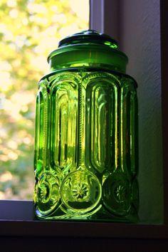 emerald green cut glass jar