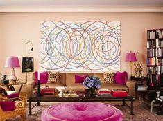 Jamie Drake: his NYC living room--The painting in the living room is by Graciella Hasper. The living room Schiaparelli sofa was made by Michael Taylor and the magenta fabric is from Schumacher. Feng Shui, Gold Rooms, Purple Rooms, Gold Bedroom, Salons Violet, Jamie Drake, Deep Purple, Purple Gold, Estilo Retro