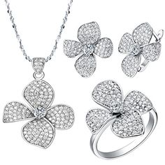 Beydodo White Gold Plated Women Jewelry Set(Necklace Earring Ring Set) Flower Austria Crystal Size 8 ** Want to know more, click on the image.