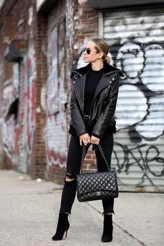 Winter Style | Black on Black by Brooklyn Blonde - Jacket: IRO | Bodysuit | Denim: Express | Boots: Christian Louboutin | Belt: Saint Laurent | Bag: Maxi Chanel January 5, 2017