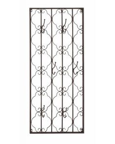 Vintage Rustic Metal Wall Panel with Hooks - This wall hook resembles a window with intricate patterns. Complete with beautiful metal carving, this wall hook will add a new look to your sweet home. Hang your bags, coats, keys, towels or any other accessories and watch the clutter disappear. Your home will be neat and organized. Your guests or visitors will appreciate the unique design and your fine taste in Home Decor.