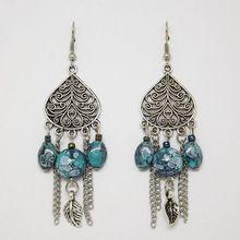 ER383 Tibetan Silver Bohemian Water Drop Tassel Beaded Retro Vintage Earrings…