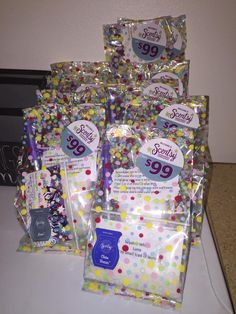 Cute little goodie bags, they include a product sheet, sample, cotton balls, and a pen. Sealed the baggies with my flat iron, and topped off the front of the bag with a join my team sticker, and scratch and sniff! www.meganmaitland.scentsy.us
