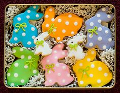 Easter decorated sugar cookies. Royal icing. Green, blue, pink, purple, yellow, orange, white. Polka dots. Bunny.