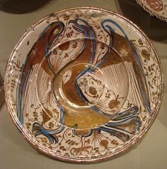 Dish Date: late 16th–early 17th century Culture: Spanish, Valencia Medium: Tin-glazed and luster-painted earthenware Dimensions: H. 3-1/4 in. (8.3 cm), Diam. 15-1/4 in. (38.7 cm)