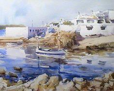 Playas de Menorca, acuarela de Francisco Castro