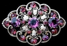Art Deco White Metal Amethyst Rhinestone Antique Brooch Purple Filigree | eBay