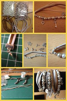 Wikkelarmband beige/wit