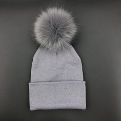 Women Skullies woolen big fur pompon fluffy hats Adult winter ponpon caps  pompom female knitted Beanie a769eaa142a7