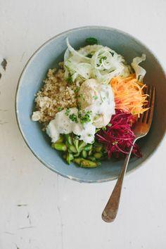 Spring quinoa bowl w/ quick-pickled vegetables, hummus + herbed yoghurt | My Darling Lemon Thyme