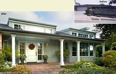 Before and After exterior 1950's Ranch style house