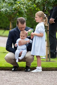 Prince Daniel of Sweden with Prince Oscar of Sweden and Princess Estelle of Sweden at Crown Princess Victoria of Sweden's 39th Birthday celebrations...