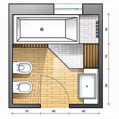 Per il bagno quadrato, in questa terza soluzione, il progetto dedica spazio alla vasca con doccia puntando sull'aspetto benessere. Vedi anche la prima e la seconda!