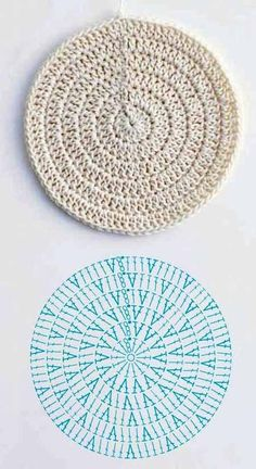 Motif Mandala Crochet, Crochet Coaster Pattern, Crochet Circles, Crochet Doilies, Crochet Stitches, Crochet Patterns, Rug Patterns, Crochet Diy, Mode Crochet