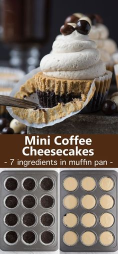 This is a crowd favorite mini coffee recipe that you'll use over and over! The whole recipe is only 7 ingredients and you make it in a regular size muffin pan! Plus, you can do an oreo crust or graham cracker crust for these mini espresso cheesecakes. Mocha Cheesecake, Mini Cheesecake Recipes, Mini Desserts, Cupcake Recipes, Easy Desserts, Baking Recipes, Delicious Desserts, Yummy Food, Health Desserts