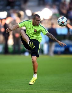 Sandro Ramirez of Barcelona controls the ball during an FC Barcelona training session on the eve of the UEFA Champions League Final match against Juventus at Olympiastadion on June 5, 2015 in Berlin, Germany.