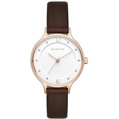 Women's Skagen 'Anita' Leather Strap Watch, 30Mm ($125) ❤ liked on Polyvore featuring jewelry, watches, stainless steel watches, skagen wrist watch, stainless steel jewellery, stainless steel wrist watch and dial watches