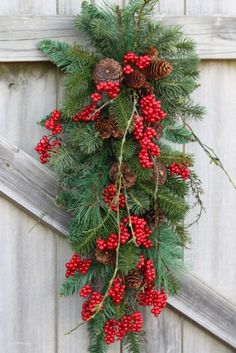 Christmas Swag, Red Berries, Pinecones, Mixed Pine