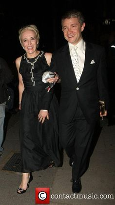 Martin Freeman and Amanda Abbington leaving the 2011 BAFTAs -- seriously, they are adorable together :)