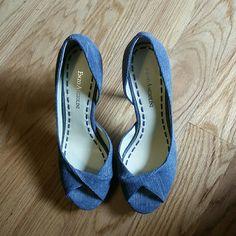 "Denim peep toe platform heels Denim  upper with a cork heel and platform  Peep toe Blue stitching in the inner sole 5"" heel Enzo Angiolini Shoes Platforms"