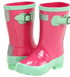 Hatley pink and green rain boots