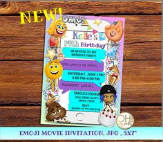 EMOJI Movie Birthday Invitation Emoji Party Invitations