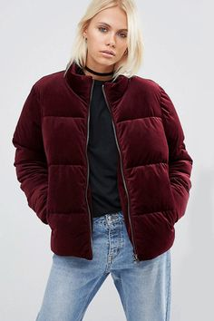 Buy ASOS Velvet Puffer Jacket at ASOS. Get the latest trends with ASOS now. Fall Winter 2017, Fall Winter Outfits, Autumn Winter Fashion, Coats For Women, Jackets For Women, Stylish Outfits, Fashion Outfits, Asos, Padded Jacket