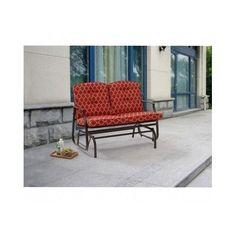 Outdoor Glider Bench Steel Red Cushions Porch Patio Furniture Garden Back Yard