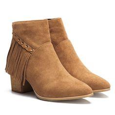 Brown Suede Chunky Heels Tassel Design Ankle Boots - US$47.95 -YOINS