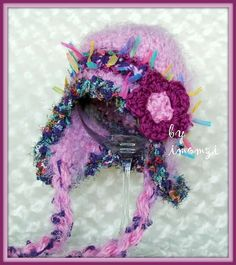 Girls Earflap Hat with Colorful Stripes / lavender and by imomzi, $20.00