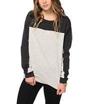 Obey Anise Grey Colorblock Crew Neck Sweatshirt