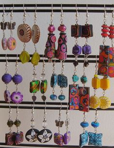 earrings = like the green with leaf dangles and others......spring earrings by polymerclaybeads, via Flickr
