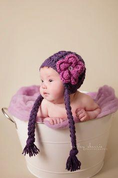 Earflap Girl Hat Baby Earflap Hat Purple Earflap Hat Flower