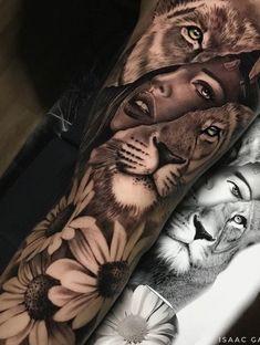 Feminine Tattoo Sleeves, Lion Tattoo Sleeves, Best Sleeve Tattoos, Feminine Tattoos, Sleeve Tattoos For Women, Tattoo Sleeve Designs, Tigeraugen Tattoo, Tattoo Fairy, Forarm Tattoos