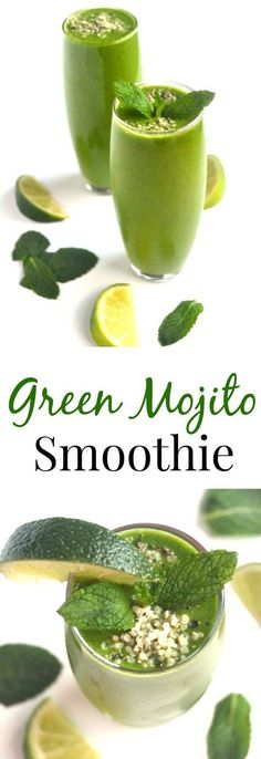 Green Mojito Smoothies are the most refreshing smoothies you will ever have and are loaded with flavorful ingredients including pineapple, fresh mint, lime and fresh ginger! http://www.nutritionistreviews.com