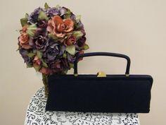 VTG 1950s Navy Square Handle Satin Lined Handbag with Original Comb by Bobbie Jerome MadMen MOD Retro