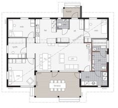Aurinkolahti / Kontio Bungalow, One Storey House, Humble Abode, House Floor Plans, Interior Architecture, Sweet Home, Cottage, Layout, House Design