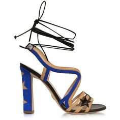 Paula Cademartori Shoes Starry Beige & Blue Leather and Suede Sandal (£485) ❤ liked on Polyvore featuring shoes, sandals, leather sandals, open toe shoes, leather sole shoes, tall sandals and beige sandals