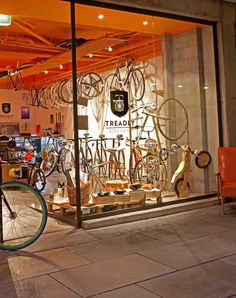 Like the chair outside and pallet in window display. Bicycle Cafe, Bicycle Store, Cool Bicycles, Cool Bikes, Cargo Bike, Bicycle Design, South Australia, Retail Design, Store Design