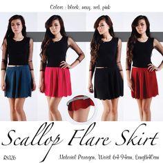 SCALLOP FLARE SKIRT (RK126) - http://www.afwindo.com/shoppusat-grosir-celana-rok-murah/scallop-flare-skirt-rk126/