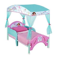#donation #Dora the Explorer Toddler Bed with Canopy. Amazing High Quality Fabric Canopy, Contains decals and style of child's favorite play universe. Made of st...