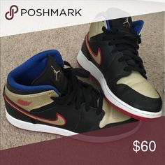 Jordan 1's size 6.5 in boys Jordan 1's size 6.5 in boys black, gold, red and blue jordan  Shoes Sneakers