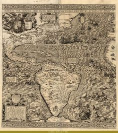 Think of the map-making talents, no calculators ░ Map of the Americas, 1562