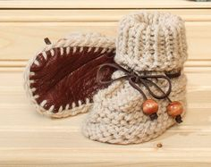 Baby booties Leather Sole Baby booties soft sheep by LiliasDesign