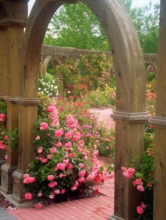 Beautiful rose garden. I like the brick paved walk and the garden bench.