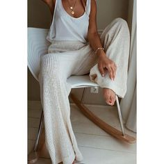 Pants, Casual Knitted Wide-Leg Pants