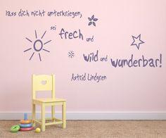 Wandtattoo fürs Kinderzimmer 68143-58x27 cm, Zitate ~ Zitate Astrid Lindgren Sei frech und wild und wunderbar ~ für Kinder, Baby Wandaufkleber Aufkleber für die Wand, Tapetensticker aus Markenfolie, 32 Farben wählbar