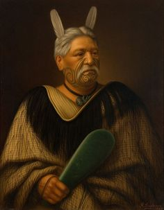 A portrait of Wahanui Reihana Te Huatare by Gottfried Lindauer. Maori Face Tattoo, Ta Moko Tattoo, Face Tattoos, Maori Words, Polynesian People, Maori People, Maori Art, Bone Carving, Male Face