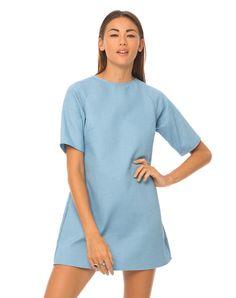Motel Reggie Shift Dress in Powder Blue